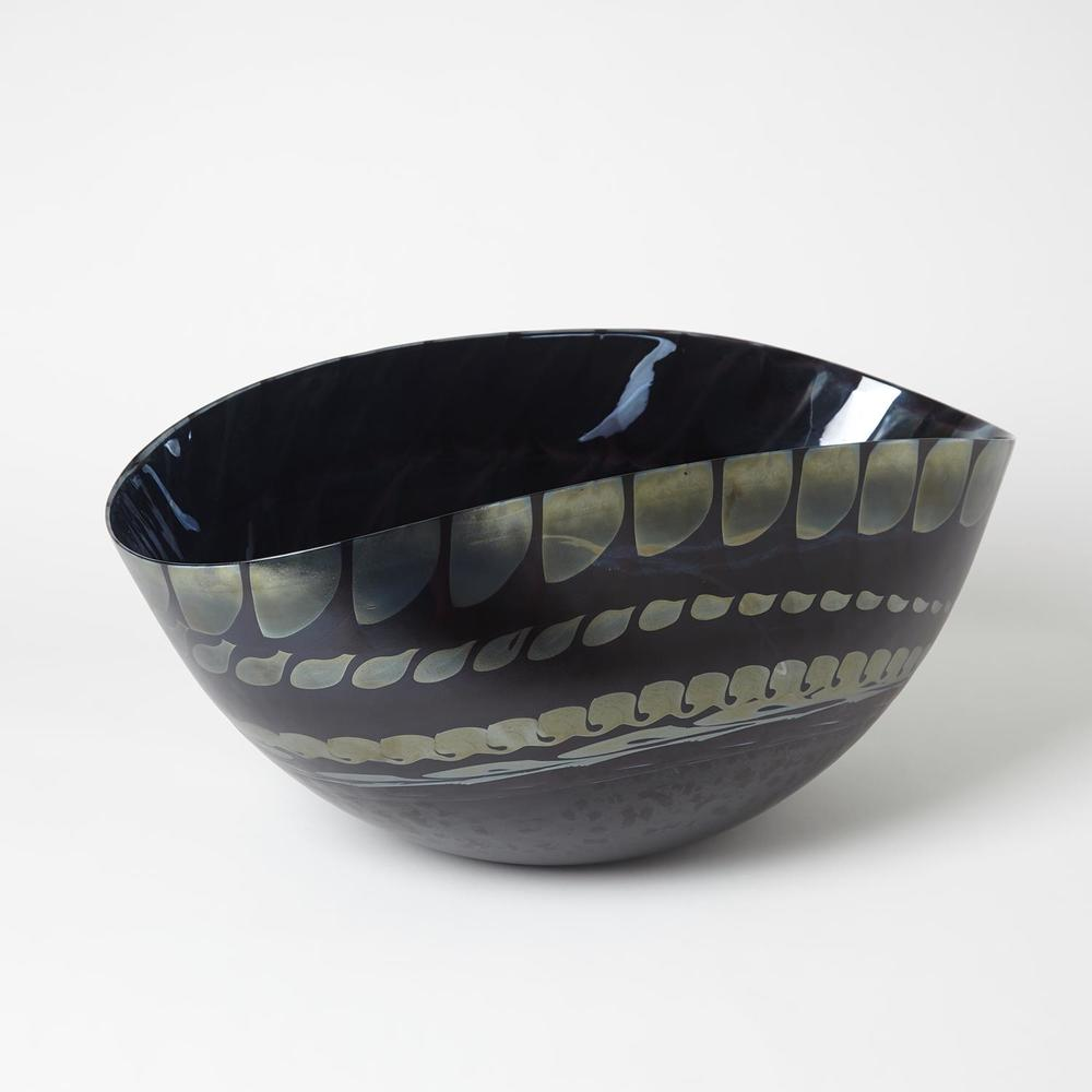 Global Views - Black Silver Marble Oval Bowl