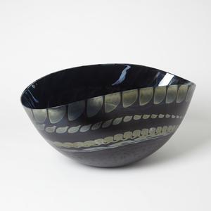 Thumbnail of Global Views - Black Silver Marble Oval Bowl
