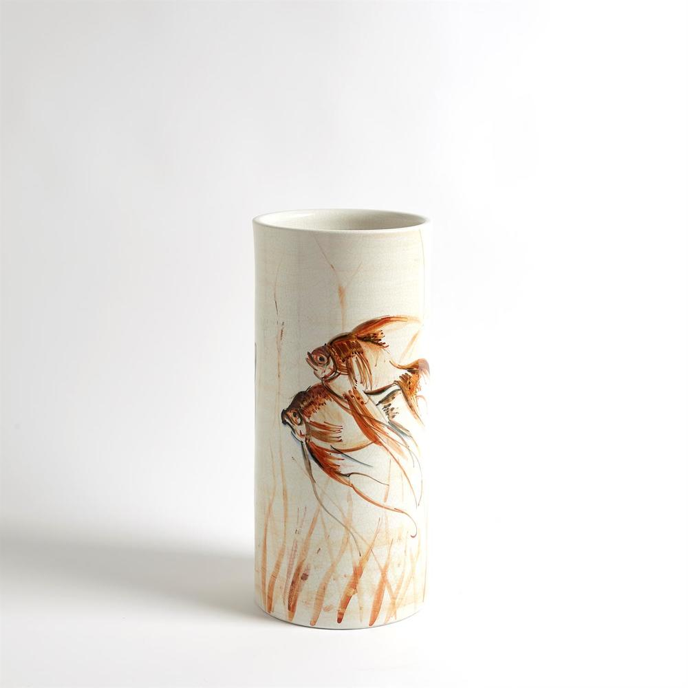 GLOBAL VIEWS - Hand Painted Goldfish Vase, Small