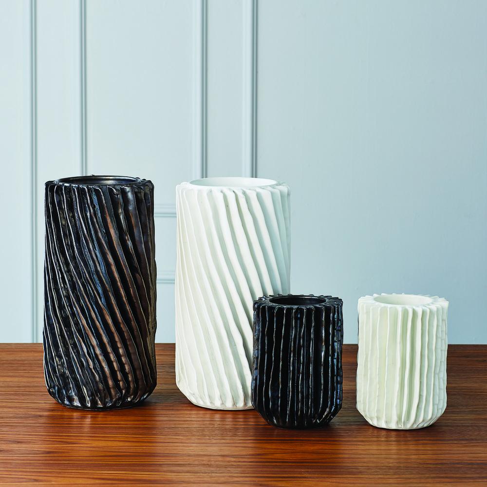 Global Views - Radiator Swirl Vase, Matte White, Small