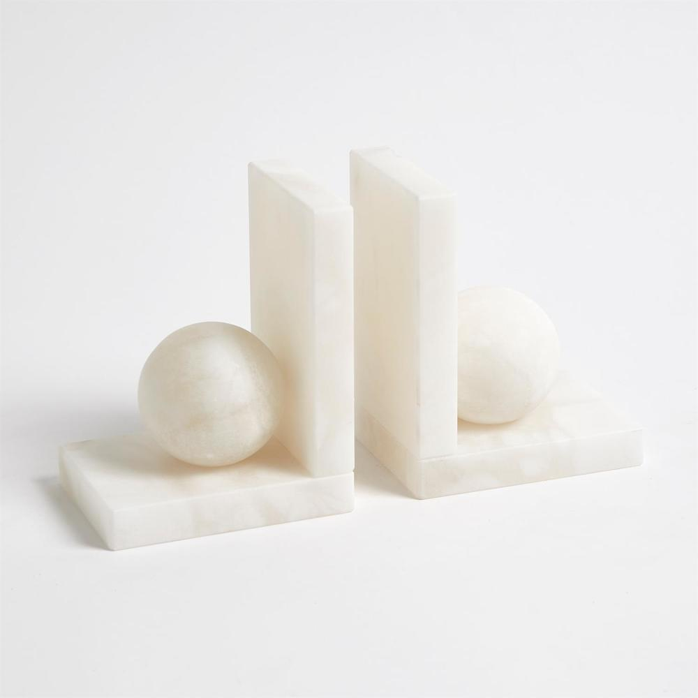 Global Views - Alabaster Ball Bookends, Pair