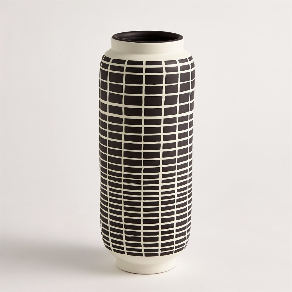 GLOBAL VIEWS - Graphic Grid Cylinder Vase