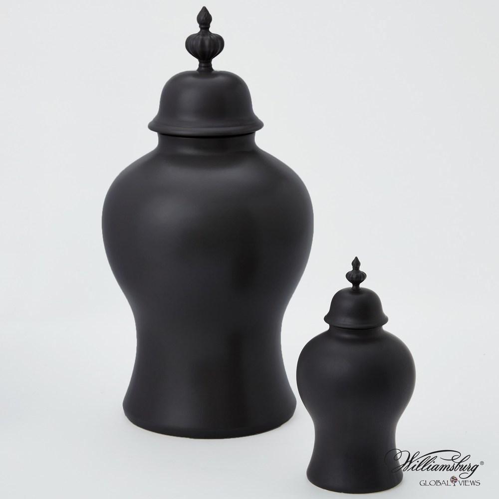 Global Views - Beaufort Ginger Jar, Matte Black, Small