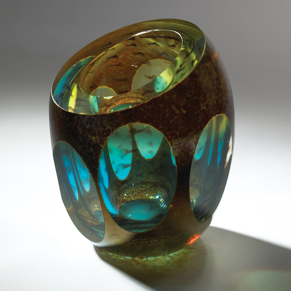 GLOBAL VIEWS - Aqua Molten Jewel Vase