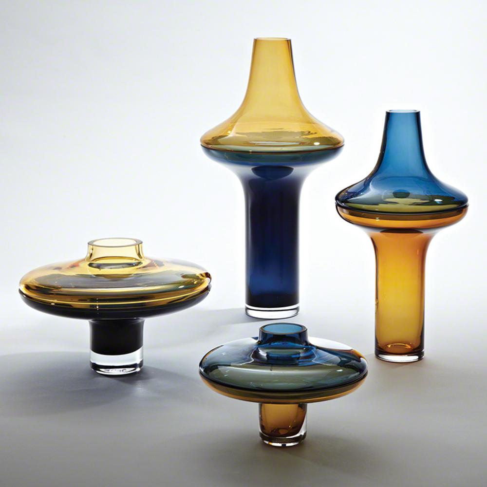 Global Views - Low Amber over Cobalt Vase