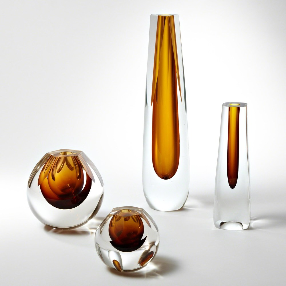 Global Views - Triangle Cut Glass Vase
