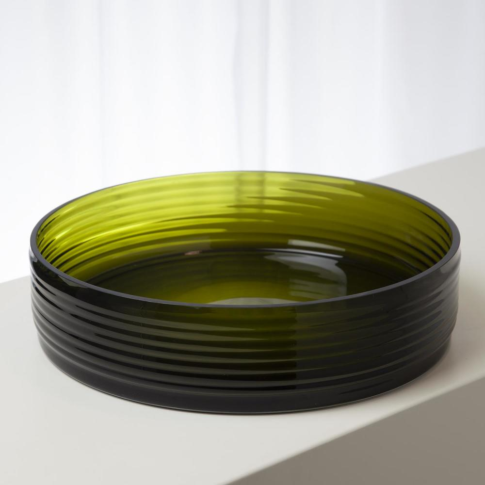 GLOBAL VIEWS - Ribbed Glass Low Compote Bowl