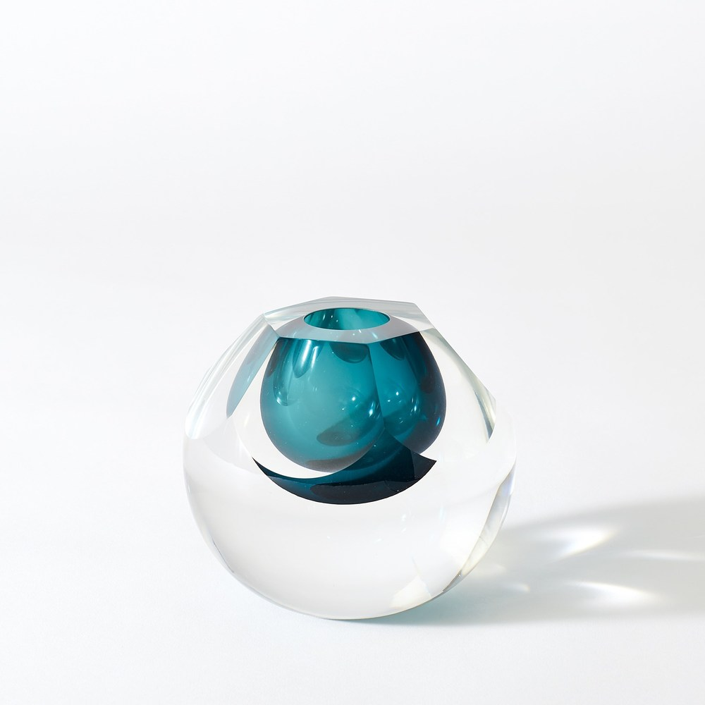 Global Views - Hexagon Cut Glass Vase