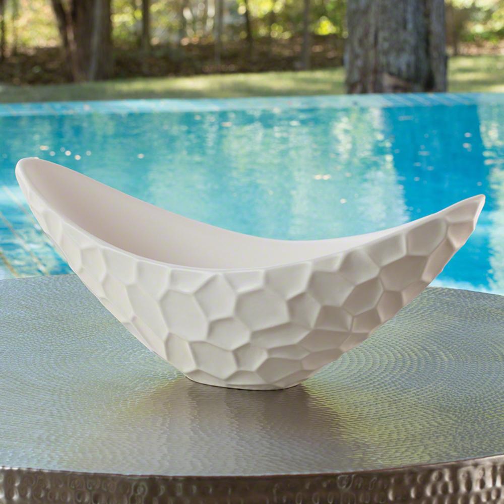 Global Views - Honeycomb Long Bowl, Matte White