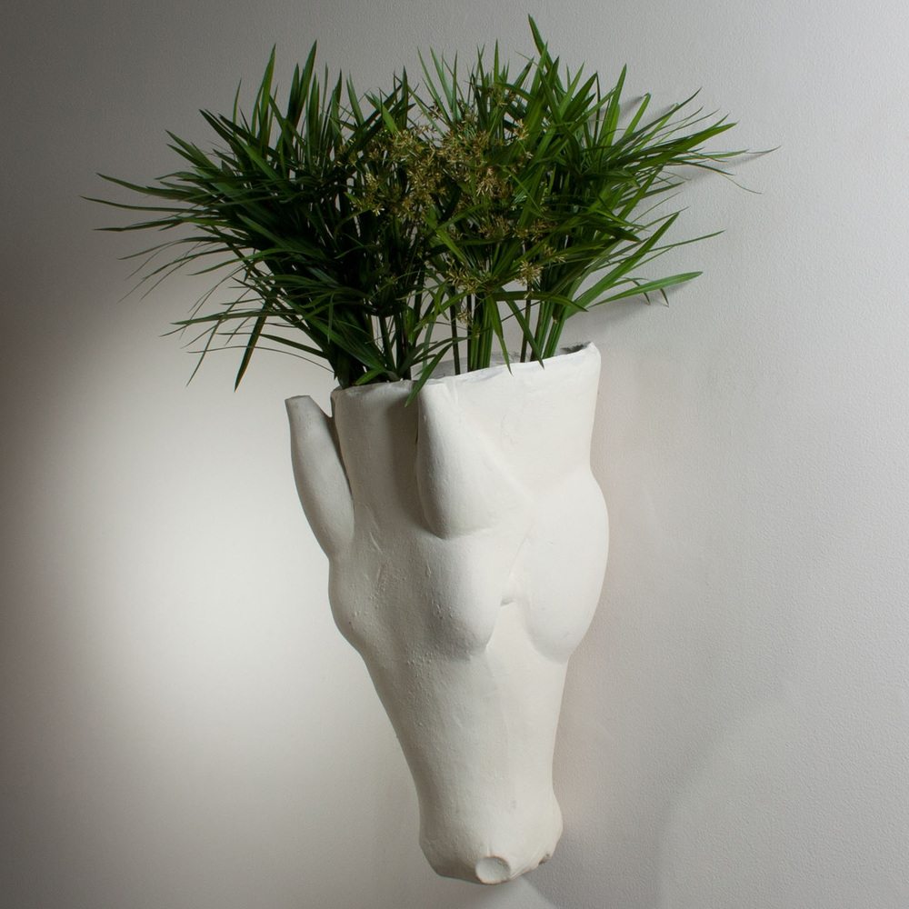 Global Views - Equus Wall Vase, Limestone