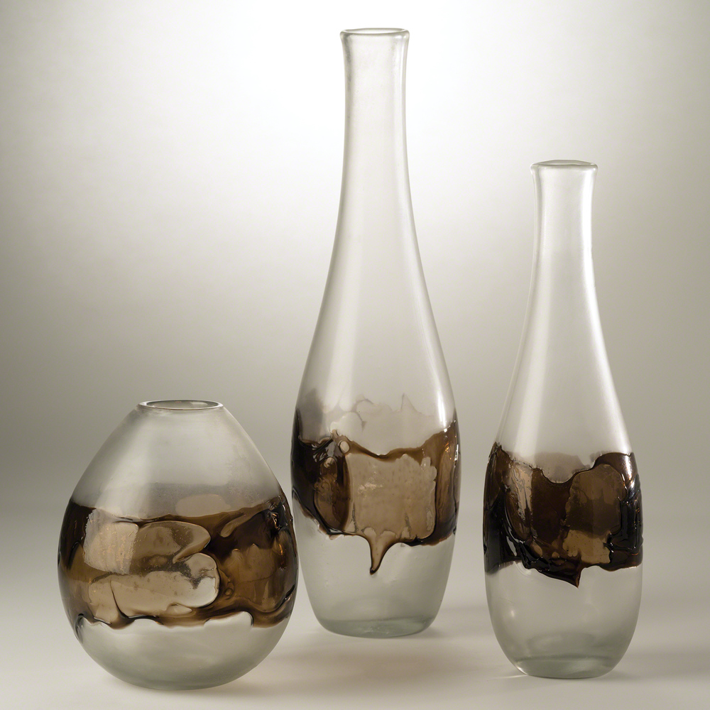 Global Views - Molten Glass Vase, Clear and Topaz
