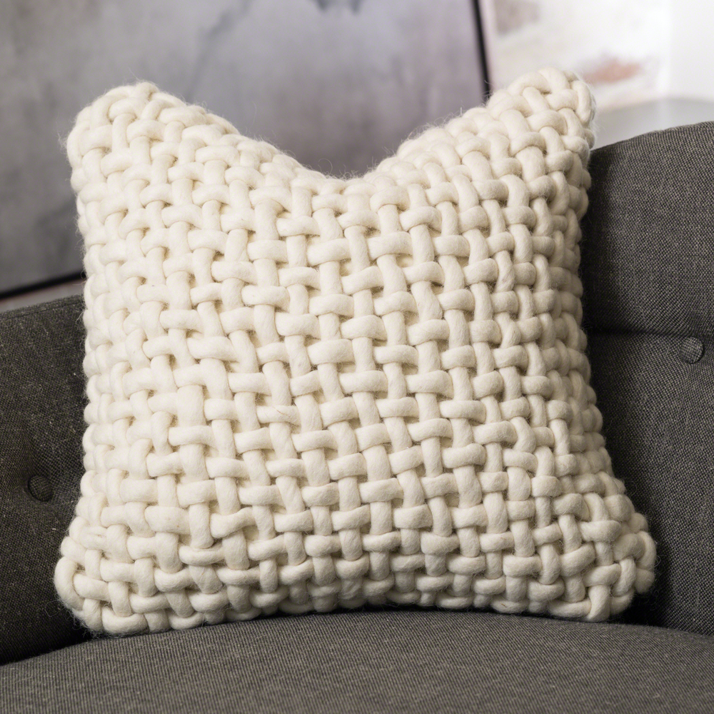 Global Views - Noodle Felt Pillow, Bone