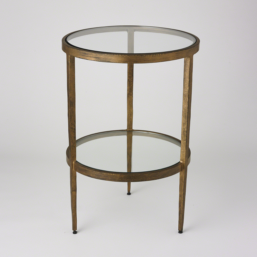 GLOBAL VIEWS - Laforge Two Tier Side Table, Antique Gold