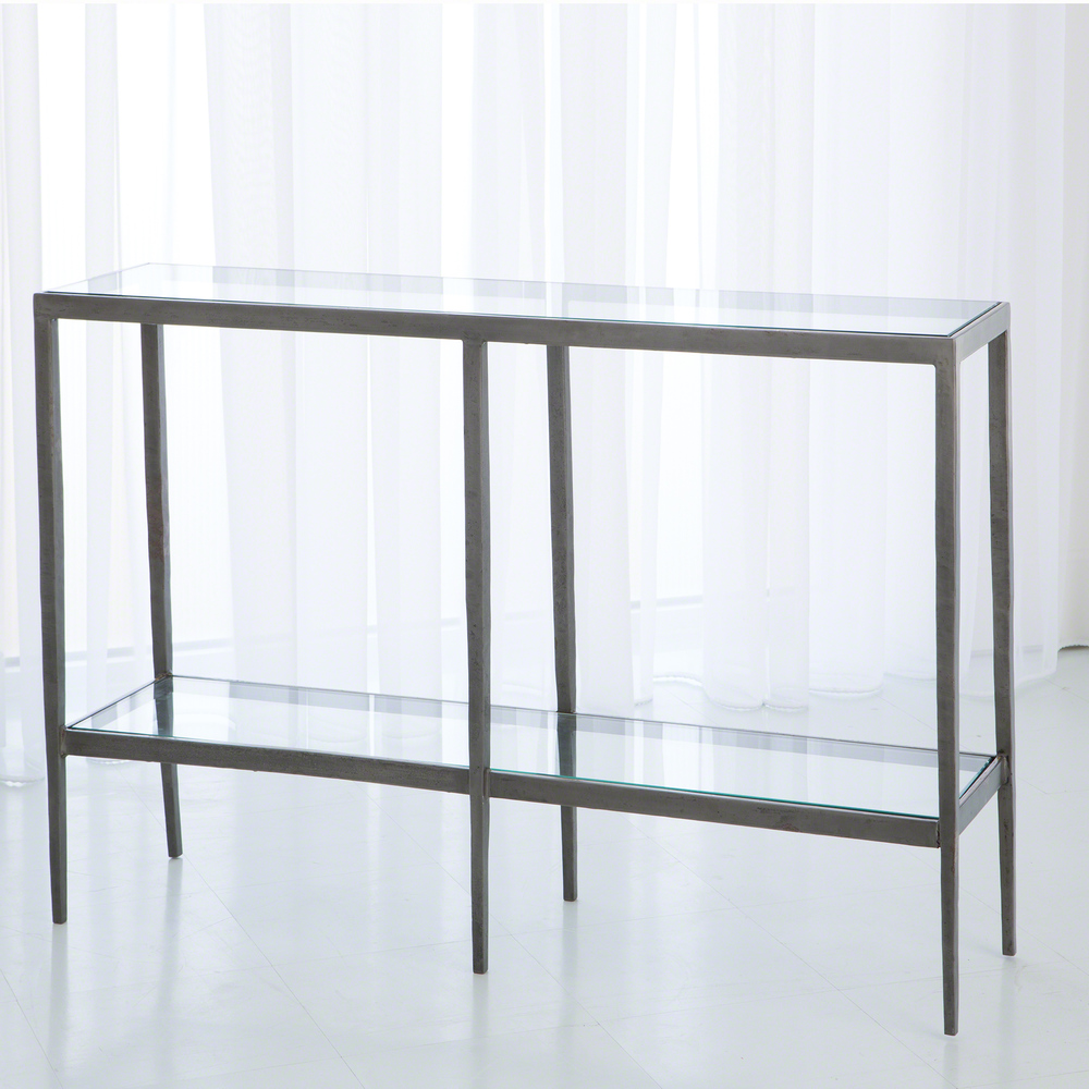 Global Views - Laforge Console Table, Iron and Brass Braising