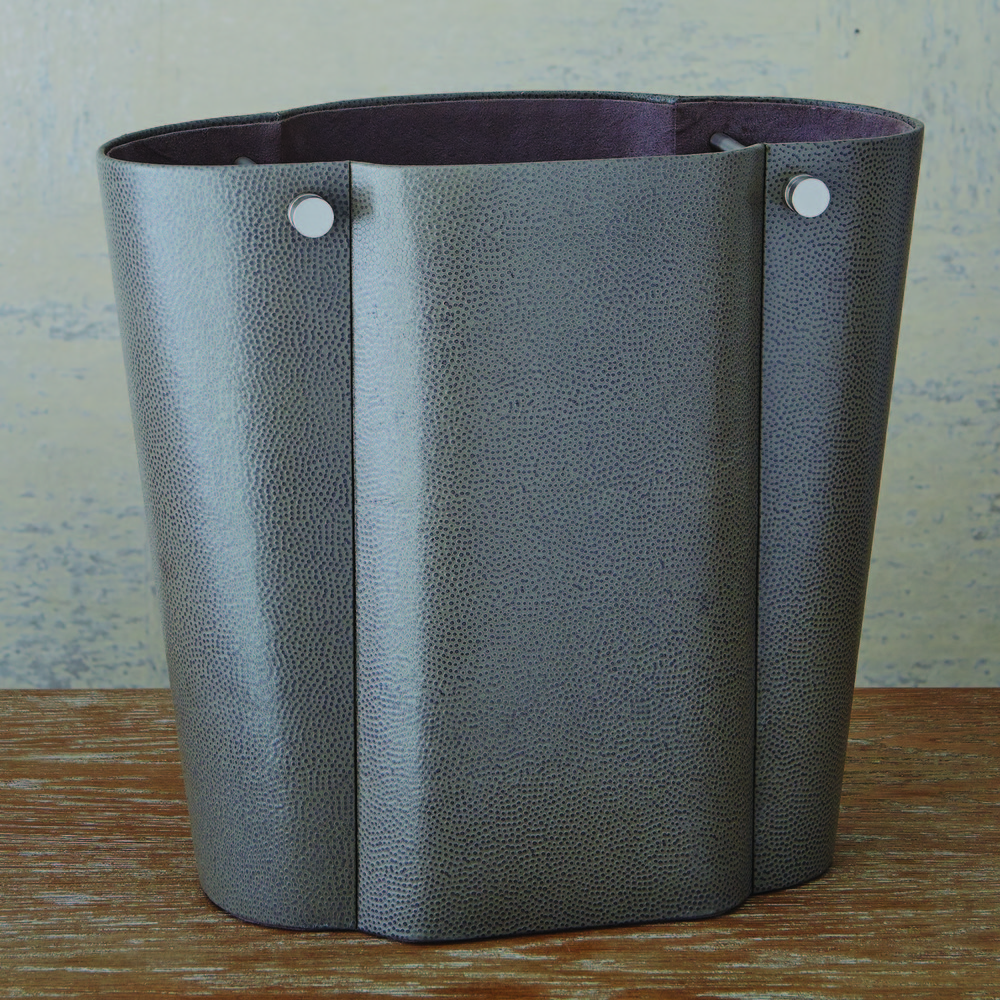 Global Views - Serpentine Wastebasket, Gray Pebble