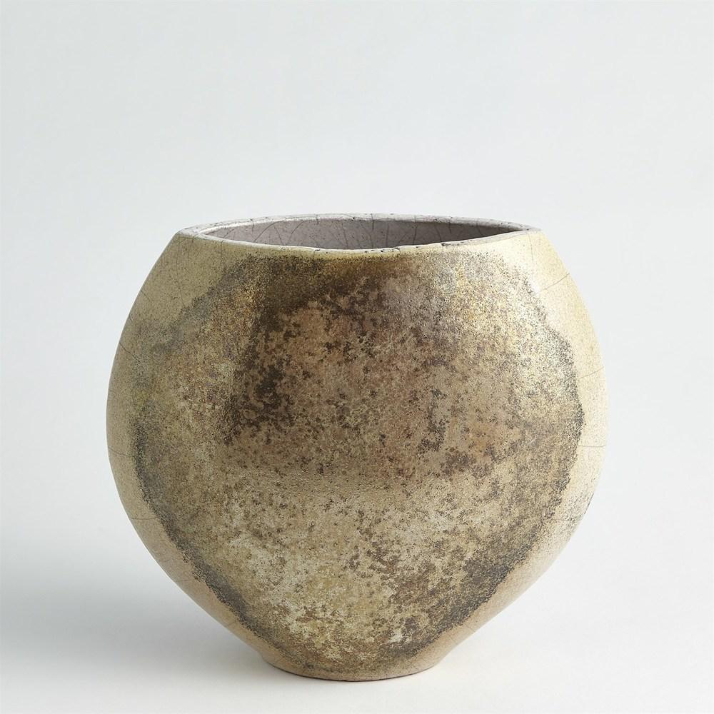 Global Views - Golden Raku Flat Round Vase