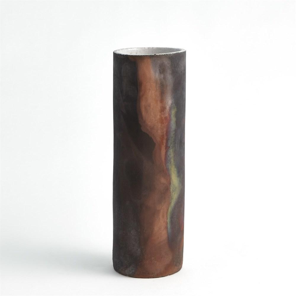 GLOBAL VIEWS - Rust Cylinder Raku Vase, Large