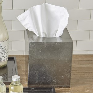 Thumbnail of Global Views - Gunmetal Silver Leaf Tissue Box