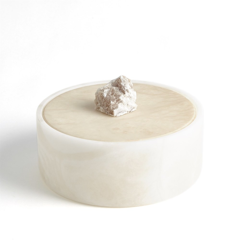 Global Views - Alabaster Round Box with Rock Finial