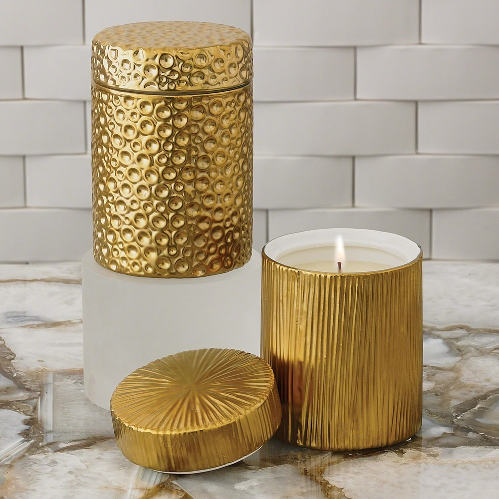 Global Views - Ocean Jar Candle, Sandalwood Teak, Gold
