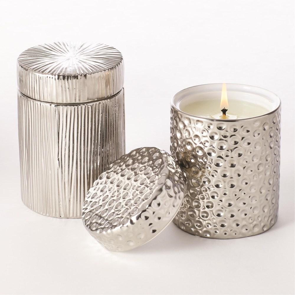 Global Views - Moonscape Jar Candle, Sandalwood Teak/Silver
