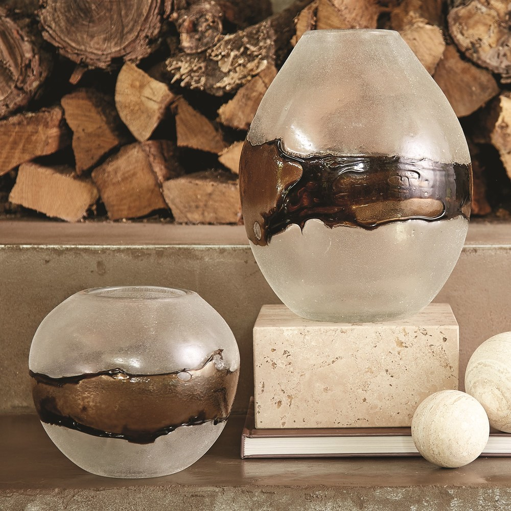 Global Views - Molten Glass Vase, Clear/Topaz, Small