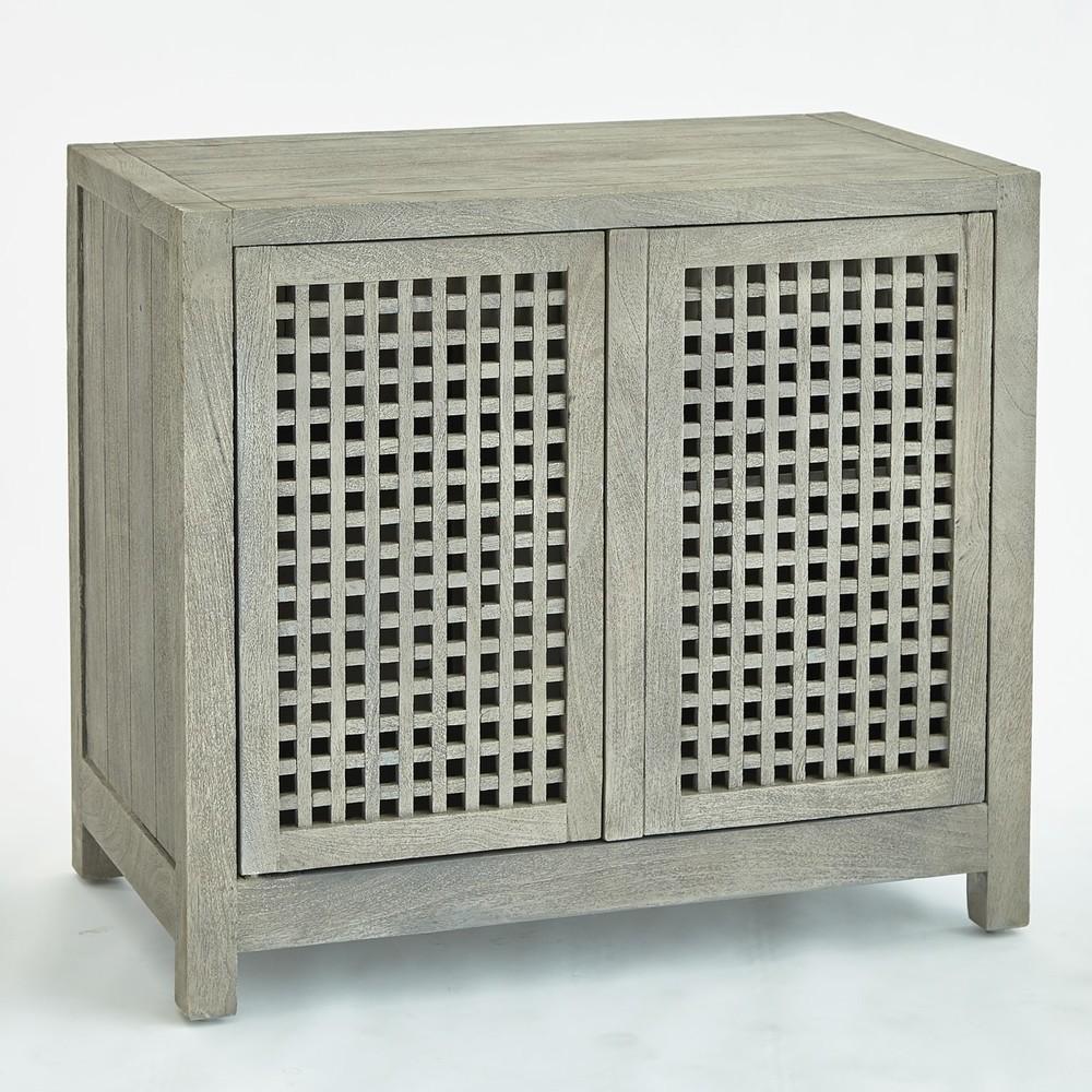 Global Views - Driftwood Lattice Two Door Cabinet