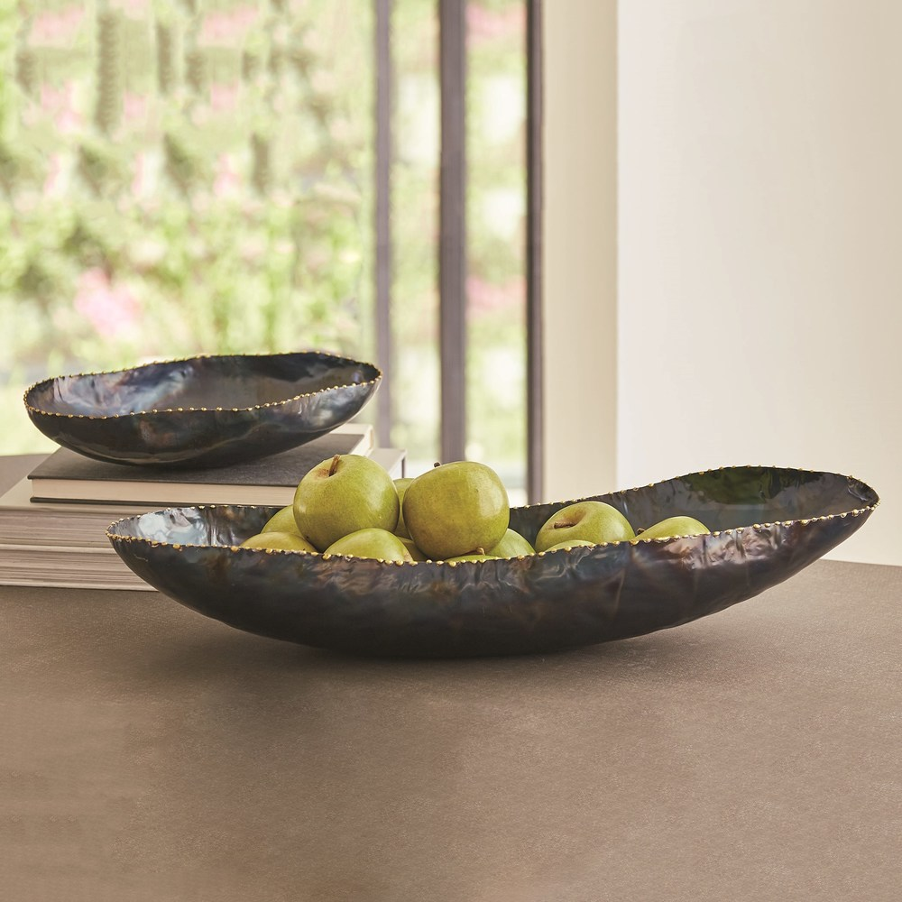 Global Views - Torched Bowl with Brass Braising, Large