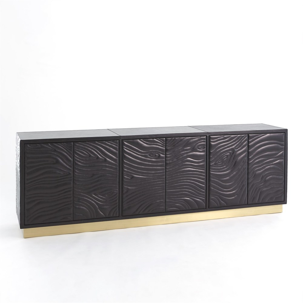 Global Views - Forest Long Cabinet, Charcoal Leather