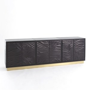 Thumbnail of Global Views - Forest Long Cabinet, Charcoal Leather