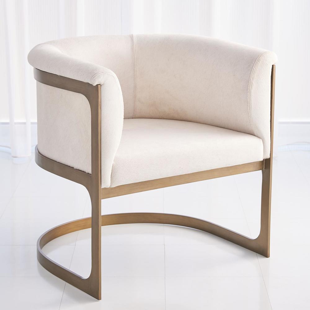 GLOBAL VIEWS - Regan Barrel Chair, Ivory Hair-on-Hide