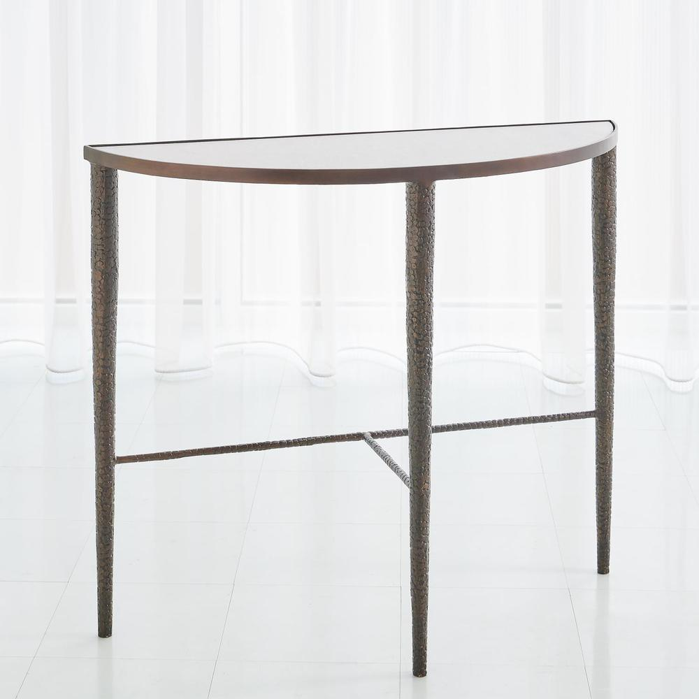 Global Views - Hammered Console with White Marble