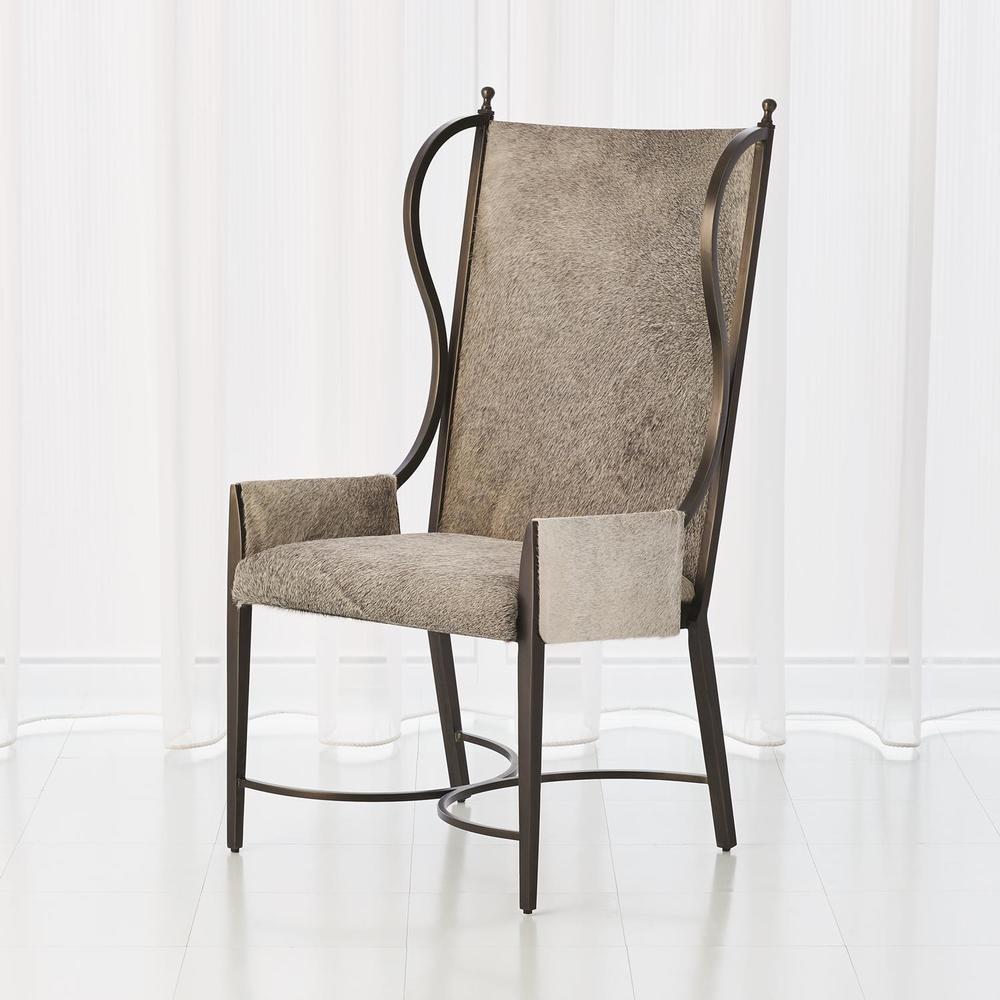 Global Views - Iron Wing Chair, Grey Hair-on-Hide