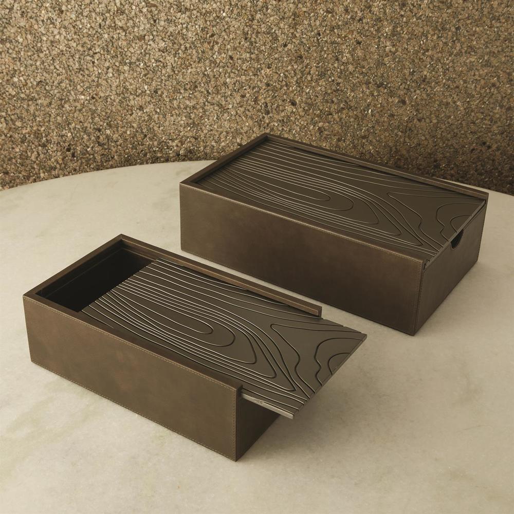 Global Views - Wood Grain Box, Charcoal, Large