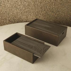 Thumbnail of Global Views - Wood Grain Box, Charcoal, Small