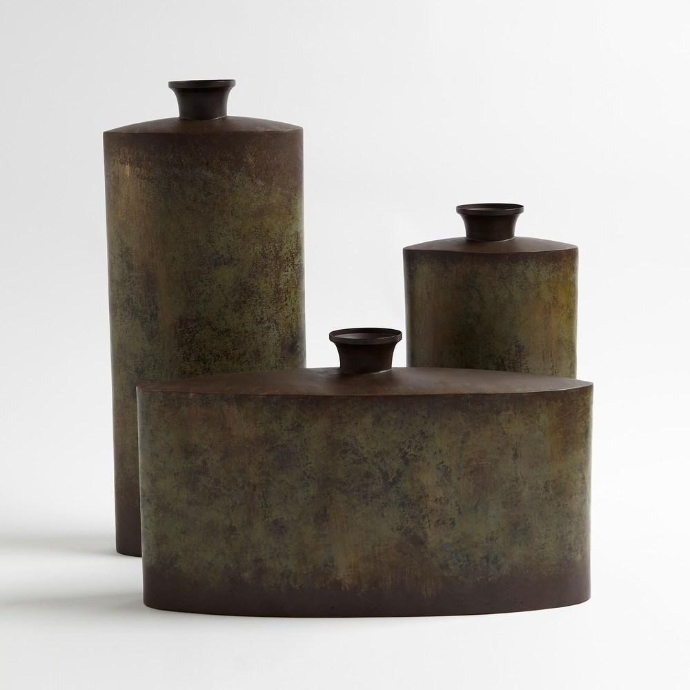 Global Views - Iron Canteen, Antique Bronze, Wide