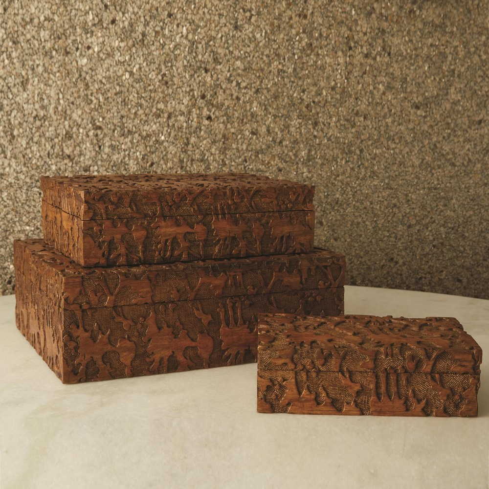 Global Views - Dentwood Box, Weathered Brown, Medium