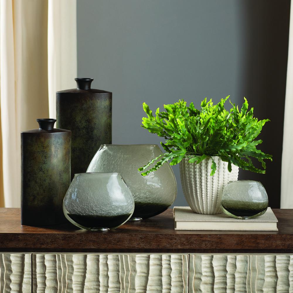 Global Views - Crackled Frozen Vase, Steel Grey, Large