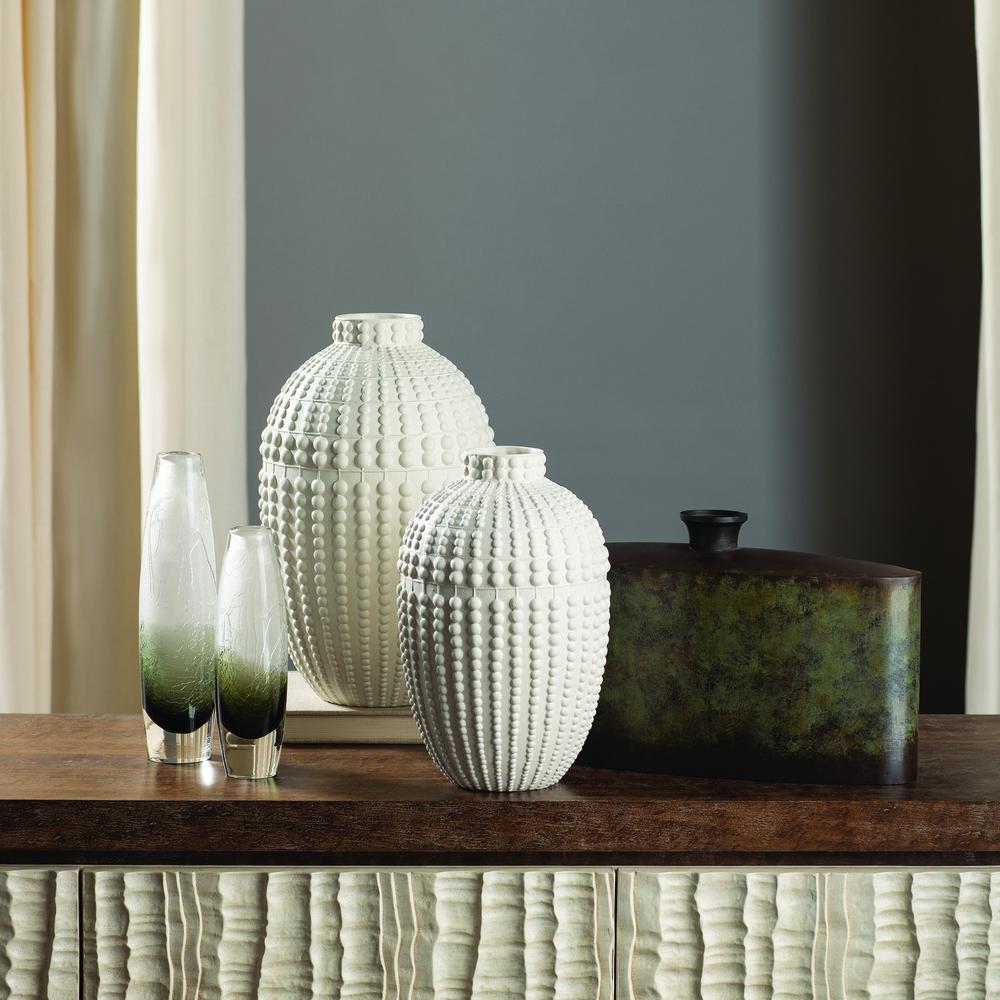 GLOBAL VIEWS - Crackled Frozen Vase, Slender, Steel Grey, Small