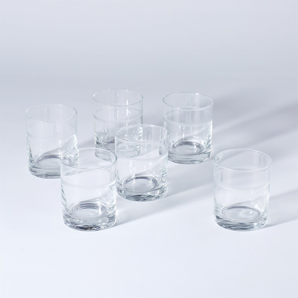 Global Views - Double Old Fashion 1 Band Drinking Glasses, Set/7