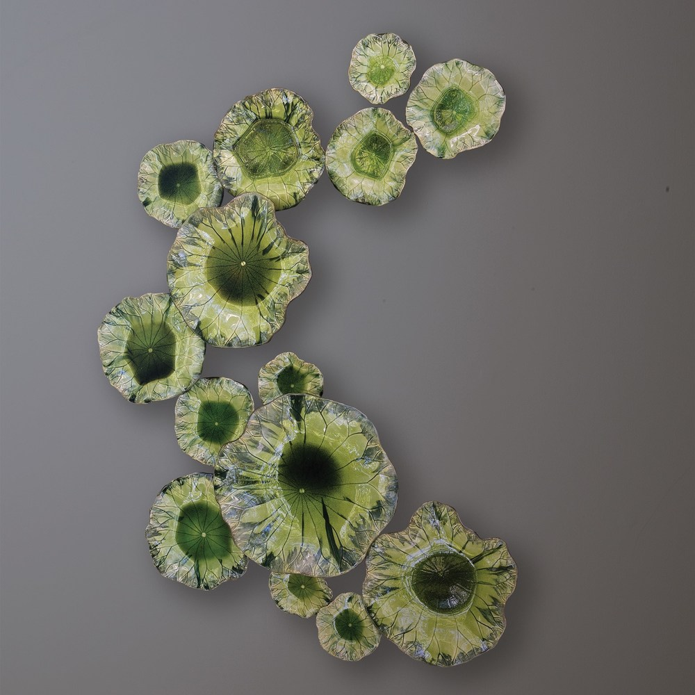 Global Views - Free Formed Lily Plate, Green, Large