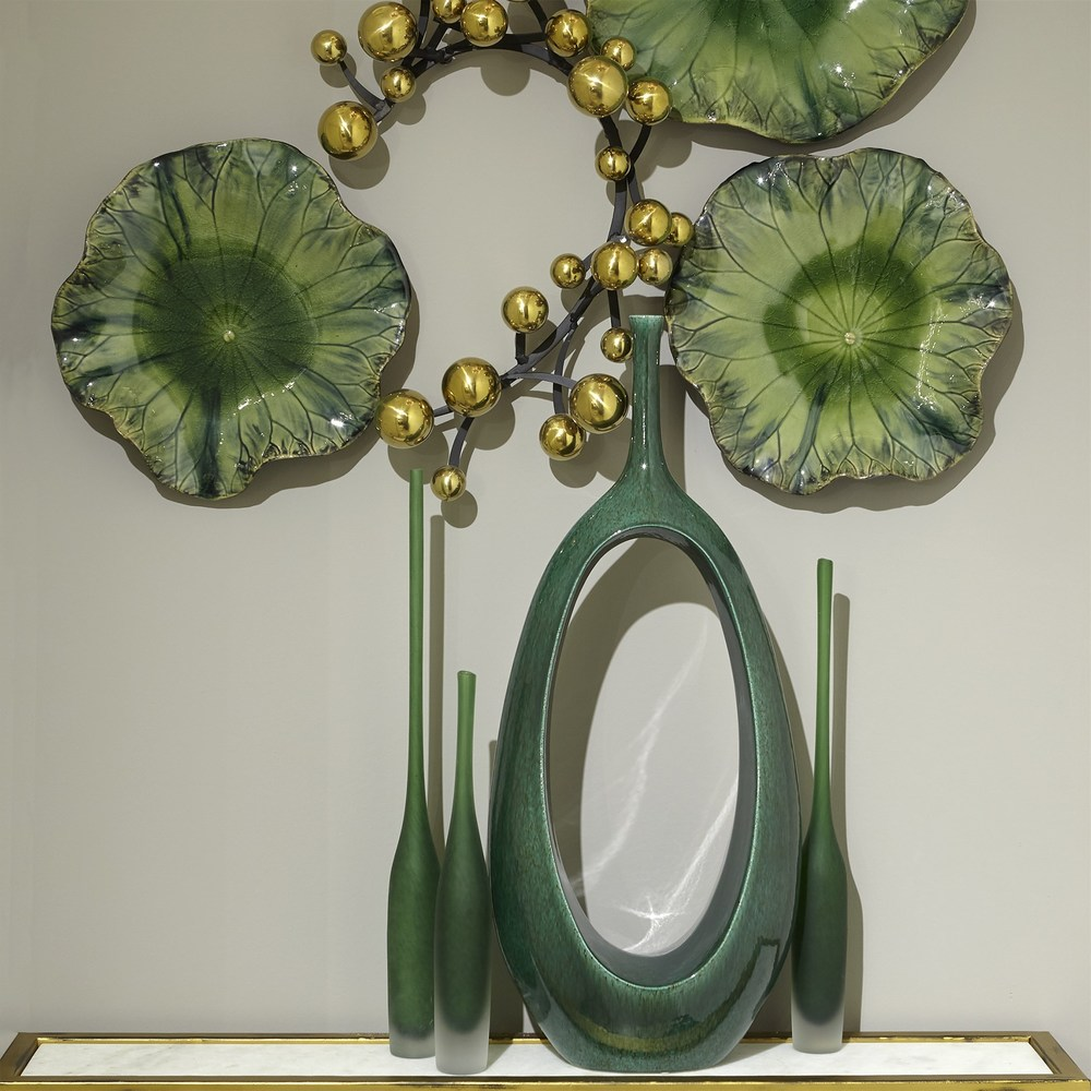 Global Views - Free Formed Lily Plate, Green, 15""