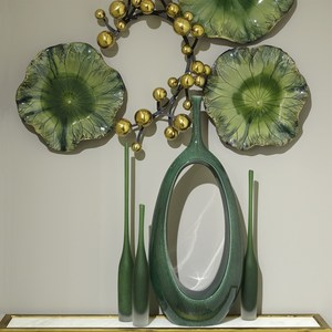 Thumbnail of Global Views - Free Formed Lily Plate, Green, 18""