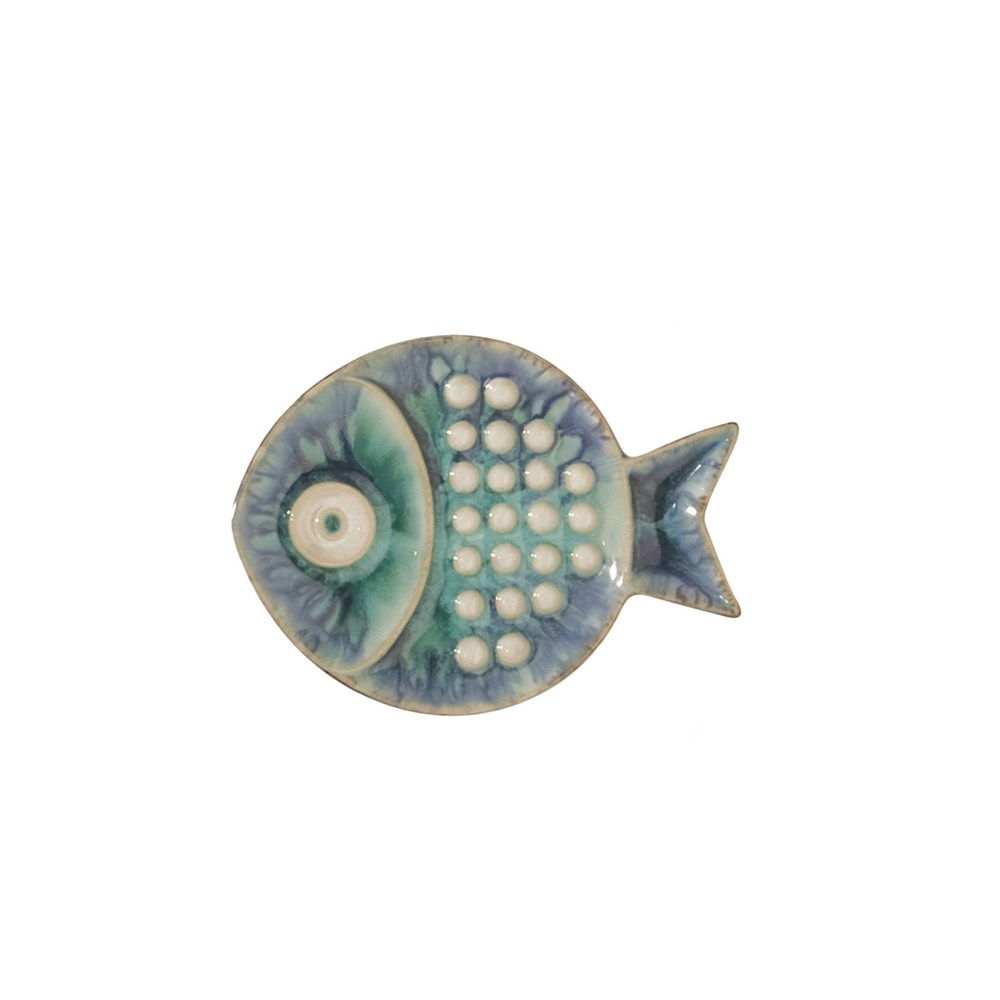 Global Views - Blue Fish Plate, Small