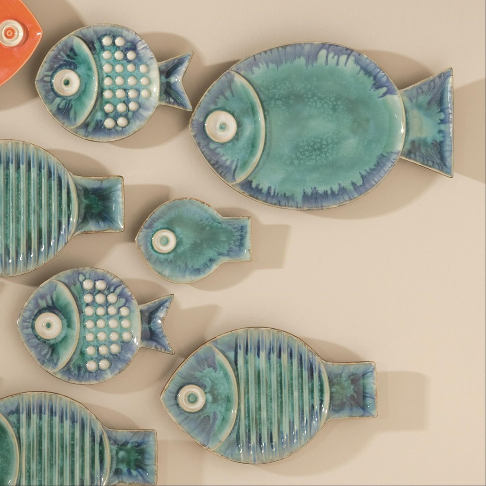 Global Views - Blue Fish Plate, Large