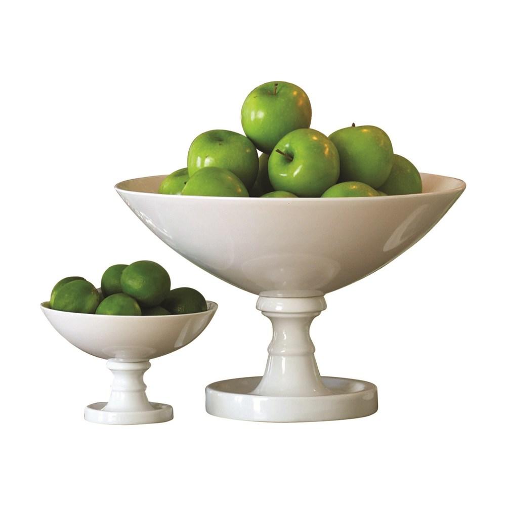 Global Views - White Pedestal Bowl, Small