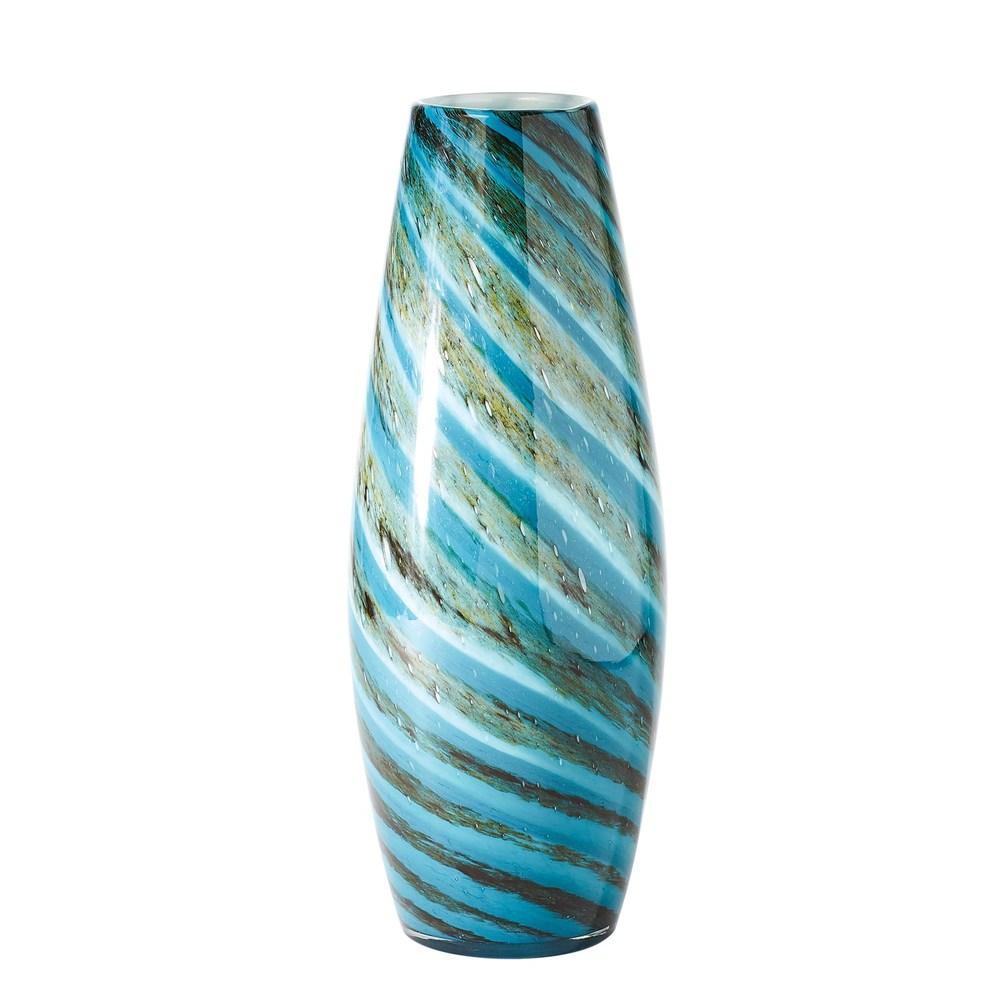 GLOBAL VIEWS - Aqua Green Swirl Vase