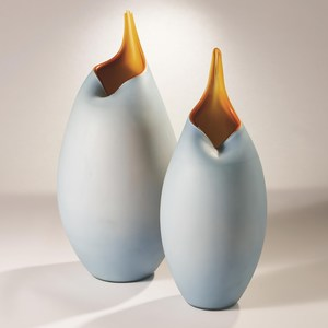 Thumbnail of Global Views - Frosted Blue Vase with Amber Casing, Small