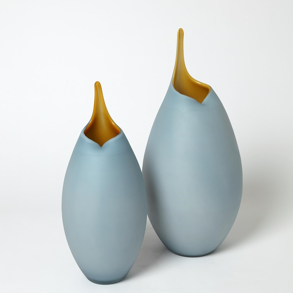 Global Views - Frosted Blue Vase with Amber Casing, Small