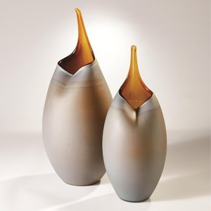 Thumbnail of Global Views - Frosted Grey Vase with Amber Casing, Small